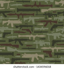 Vintage military weapons seamless pattern with rocket launcher bazooka automatic and sniper rifles knife pistols machine gun on green background vector illustration