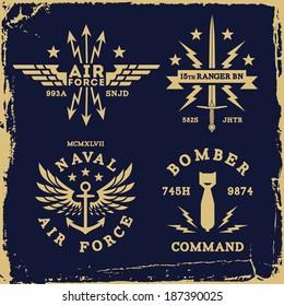 vintage military wing bomb anchor ( T-Shirt Print )