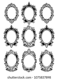Vintage mirror frames set. Vector collection of round vintage frames, design elements