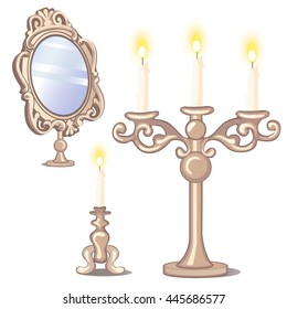 Vintage mirror and metallic candlesticks with candles isolated on white background. Vector illustration.
