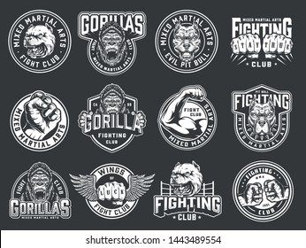 Vintage mixed martial arts club emblems with male fists strong fighter arm angry gorilla and pitbull heads isolated vector illustration