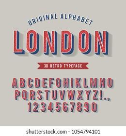 Vintage Modern Alphabet. 3d Retro Typeface.