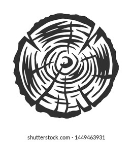 Vintage modern monochrome black wooden log. Design element on white background isolated. Vector illustration.