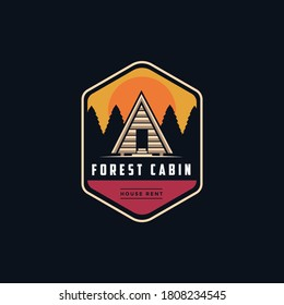 Vintage modern outdoor emblem with Mountain view and cabin house in forest logo icon vector template on black background