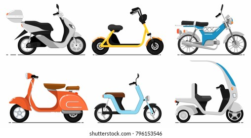 Vintage and modern scooters set. Old style motorbike, city motorcycle, trendy electric bike, delivery moped. Personal transport vehicle collection isolated on white background vector illustration.