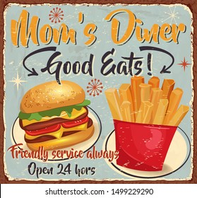 Vintage Mom's Diner metal sign.Retro poster 1950s style.