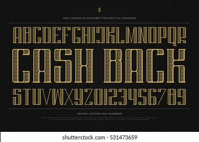 vintage money alphabet letters and numbers. vector font type design. golden lettering symbols. stylized, business typesetting. currency classic typeface template