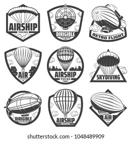 Vintage monochrome airship labels set with inscriptions hot air balloons blimps and dirigibles isolated vector illustration