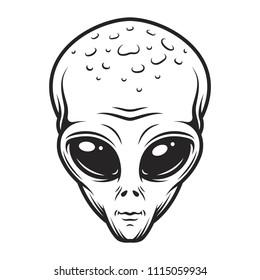 Vintage monochrome alien face concept isolated vector illustration
