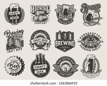 Vintage monochrome beer designs collection with brewing labels emblems prints and badges on light background isolated vector illustration