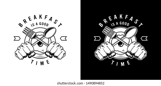 Vintage monochrome breakfast time label with omelette on plate and male hands holding crossed fork and spoon isolated vector illustration