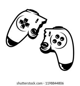 Vintage monochrome broken wireless joystick isolated vector illustration