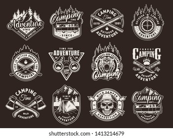 Vintage monochrome camping labels set with motorhome skull in pith helmet animals nature landscapes and outdoor recreation elements isolated vector illustration