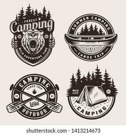 Vintage monochrome camping logotypes with angry bear head canoe forest landscape crossed paddles tent isolated vector illustration