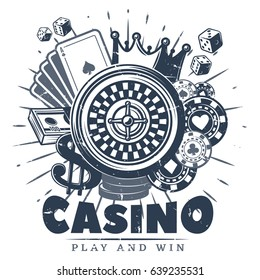 Vintage monochrome casino logo template with roulette cards chips money crown and dices isolated vector illustration