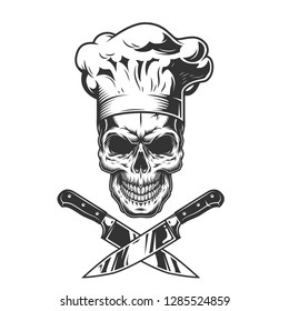 Vintage monochrome chef skull with crossed knives isolated vector illustration
