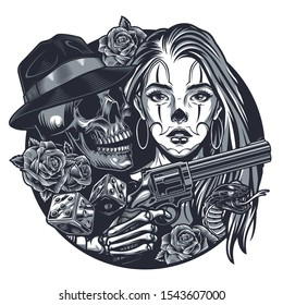 Vintage monochrome chicano tattoo round concept with attractive girl gangster skull skeleton hand holding gun roses poisonous snake isolated vector illustration