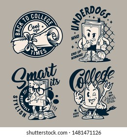 Vintage monochrome college logos with diploma scroll meditative book smart notepad and devil condom characters isolated vector illustration