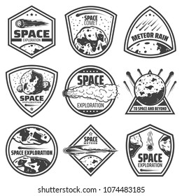 Vintage monochrome comets labels set with inscriptions falling meteors asteroids and meteorites isolated vector illustration