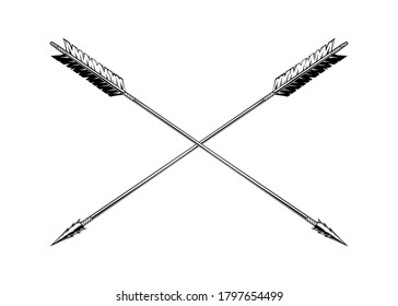 Vintage monochrome crossed arrows illustration. Isolated vector template