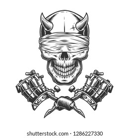 Vintage monochrome demon skull with blindfold and crossed tattoo machines isolated vector illustration