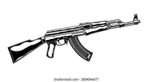 Vintage monochrome detailed illustration of assault rifle. Isolated vector template