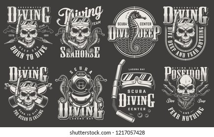 Vintage monochrome diver labels collection with skull wearing scuba mask snorkel diving equipment inscriptions seahorse poseidon tridents isolated vector illustration