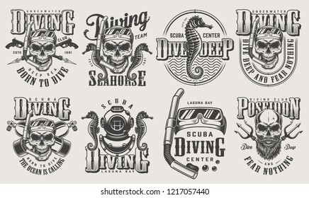 Vintage monochrome diving logos set with skull in scuba mask snorkel oxygen balloons spear gun diver helmet poseidon trident seahorse isolated vector illustration