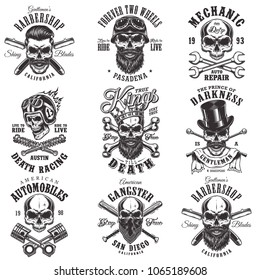 Vintage monochrome emblems with skull. Vector illustration.