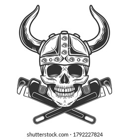 Vintage monochrome employee skull builder in viking helmet from new construction with crossed wrenches plumbing and gas pipe isolated vector illustration