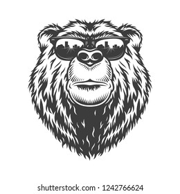 Vintage monochrome fashionable serious bear head in sunglasses isolated vector illustration