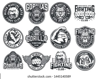 Vintage monochrome fight club labels with angry pitbull and gorilla heads strong fighter arm winged and bumping male fists isolated vector illustration