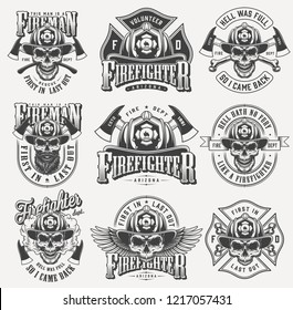 Vintage monochrome firefighting labels set with inscriptions skulls in fireman helmet eagle wings crossed axes bones isolated vector illustration