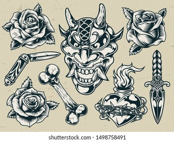Vintage monochrome flash tattoo designs with devil head roses bone pocket knife dagger fiery heart in barbed wire isolated vector illustration
