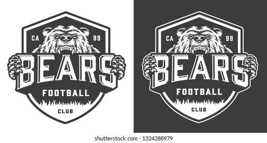 Vintage monochrome football team mascot logo with angry ferocious bear isolated vector illustration