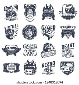 Vintage monochrome gaming emblems set with inscriptions videogame equipment devices and gadgets isolated vector illustration