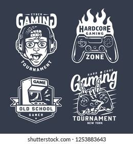 Vintage monochrome gaming emblems set with gamer in headphones fiery joystick retro arcade game machine skeleton hand holding gamepad isolated vector illustration