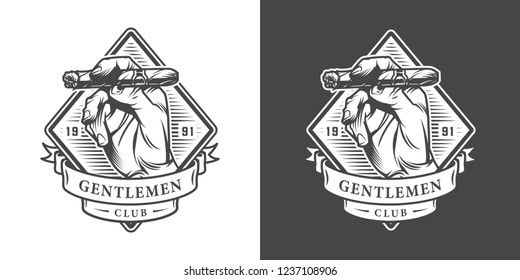Vintage monochrome gentleman club label with male hand holding cuban cigar isolated vector illustration