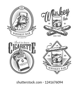 Vintage monochrome gentleman club labels with hand holding glass of whiskey crossed cuban cigars pack of cigarettes isolated vector illustration