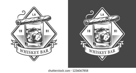 Vintage monochrome gentleman club logo with cuban cigar lying on glass of whisky isolated vector illustration