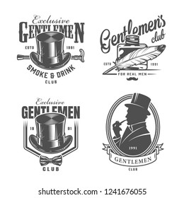 Vintage monochrome gentleman logos with elegant top hat cane feather pen inkwell bowtie british man smoking pipe isolated vector illustration