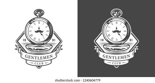 Vintage monochrome gentleman logotype with mustache on pocket watches isolated vector illustration