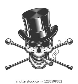 Vintage monochrome gentleman skull smoking cigar with cylinder hat and crossed walking canes isolated vector illustration