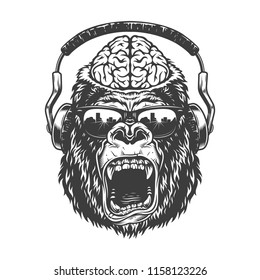 Vintage monochrome gorilla with headphones and brain. Vector illustration