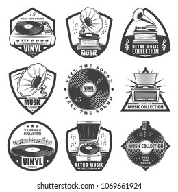 Vintage monochrome gramophone labels set with inscriptions turntable vinyl records phonograph microphone music notes isolated vector illustration