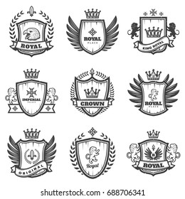 Vintage Monochrome Heraldic Emblems Set