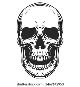 Vintage monochrome human skull template with open mouth isolated vector illustration
