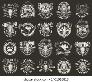 Vintage monochrome hunting club labels with animals heads deer and hunter skulls flying eagle bear footprint rifle sight crossed arrows and guns isolated vector illustration