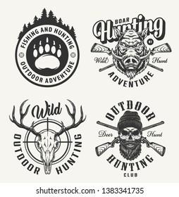 Vintage monochrome hunting prints with bear footprint boar head deer and hunter skulls crossed guns isolated vector illustration