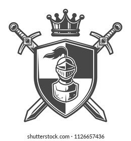 Vintage monochrome knight coat of arms with medieval warrior helmet on shield crossed swords and royal crown isolated vector illustration